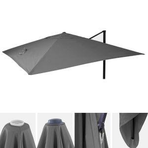Bezug für Luxus-Ampelschirm HWC-A96, Sonnenschirmbezug Ersatzbezug, 3x3m (Ø4,24m) Polyester 2,7kg  anthrazit