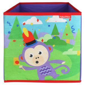 Fisher-Price Faltbox 30x30cm - Aufbewahrungsbox - Spielzeugkiste - Spielzeugtruhe - Affe