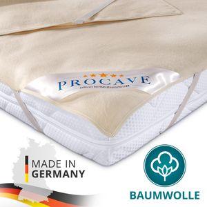 PROCAVE Moltonauflage aus 100% Baumwolle als Matratzenauflage 90x200 cm mit 4 Eckgummis - Natur Matratzenschoner