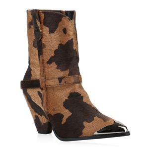 Mytrendshoe Damen Stiefeletten Cowboy Boots Western Stiefel Chunky High Heels 832119, Farbe: Hellbraun Leo, Größe: 39