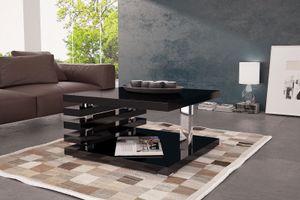 Couchtisch Tisch Wohnzimmertisch Hochglanz Schwarz 65x65 cm LACK Kratzfest