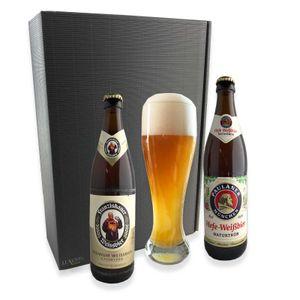 Geschenkset Bayerisches Weissbier aus München - Zwei Flaschen 0,5l Weizenbier und das passende Glas im Geschenkkarton