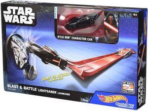 Hot Wheels – Star Wars – Blast & Battle Lightsaber Launcher – Kylo Ren – Fahrzeug und Pullback-Rennstrecke