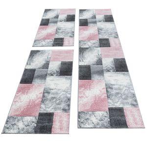Kurzflor Teppich Läuferset 3-teilig Bettumrandung Kacheldesign Grau Pink meliert, Bettset:2 x 80x150 cm + 1 x 80x300 cm
