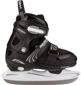 Nijdam Kinder Eishockeyschlittschuh Verstellbar Semi-Softboot Schwarz/Silber/Weiß, Größe:30-33