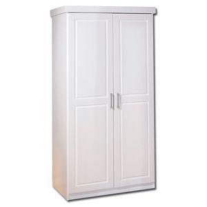 Kleiderschrank Schlafzimmerschrank Schlafzimmer Hakon Massivholz weiß 2 Türen