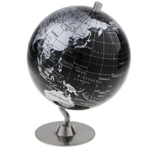 14cm Alloy Globus Weltkarte Home Desk Dekoration Kinder Geschenk - Schwarz Silber