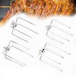 4X BBQ Fleischklammer Grillklammer aus Edelstahl Fleischnadeln für Grillspieß Drehspiess Drehspieß 8-11mm