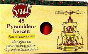 1 Packung  45 Stk  Pyramidenkerzen Yul  Farbe rot 74 x 14 mm