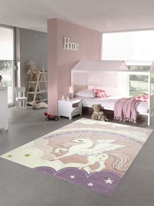 Kinderzimmer Teppich Spielteppich Einhorn Regenbogen Wolken Himmel creme rosa Größe - 80x150 cm