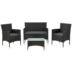 Juskys Polyrattan Gartenmöbel-Set Fort Myers schwarz – Sitzgruppe mit Tisch, Sofa & 2 Stühlen - Balkonmöbel für 4 Personen mit grauen Auflagen