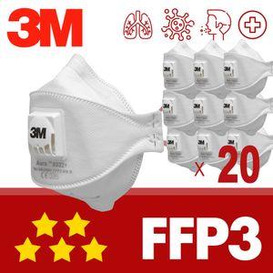 20x FFP3 mit Ventil 3M Aura 9332+ Maske mit CE - Atemschutzmaske einzeln verpackt