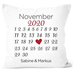 personalisiertes Kissen Kalender mit anpassbarem Datum und Wunsch-Namen Geschenk Liebe SpecialMe® weiß unisize