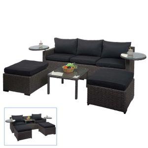 Poly-Rattan Garnitur HWC-J38, Garten-/Lounge-Set Sitzgruppe, Spun Poly halbrundes Rattan  grau, Kissen anthrazit