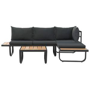 yocmall 2-tlg. Garten-Ecksofa-Set mit Auflagen Aluminium WPC