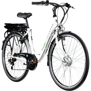 Zündapp Z503 700c E-Bike Damenrad Pedelec 28 Zoll E Cityrad Stadtrad Elektrofahrrad, Farbe:weiß/grün, Rahmengröße:49 cm