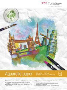 TOMBOW Aquarellblock rundum geleimt 240 x 320 mm 300 g/qm 15 Blatt cremeweiß