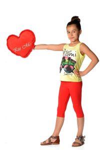 Kinder 3/4 Leggings in 22 Farben Baumwolle, Rot 146