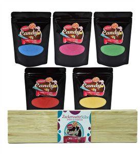 Zuckerwatte Zucker Set 5 x 200g Premium Aroma Zucker + 50 Stäbe Farbzucker für Zuckerwatte