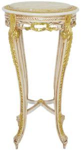 Casa Padrino Barock Beistelltisch mit Marmorplatte Weiß / Beige / Gold / Creme Ø 40 x H. 90 cm - Runder Antik Stil Tisch - Barock Wohnzimmer Möbel
