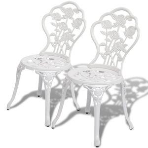 vidaXL Bistro-Stühle 2 Stk. Aluminiumguss Weiß