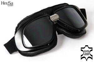 Motorradbrille Classic, ECHT LEDER, schwarz mit verspiegelten Gläsern