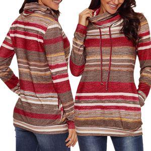 Lässige Cowl Neck Sweatshirts für Frauen Langarm Pullover Top mit Taschen M rot Kapuzenpullover Streifen