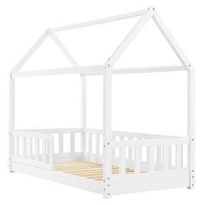 Kinderbett Marli 80 x 160 cm mit Rausfallschutz, Lattenrost und Dach - Hausbett für Kinder aus Massivholz - Bett in Weiß | ArtLife