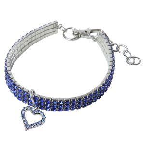 Hundehalsband Kristall Halsband Halskette mit Herz Anhänger für kleine oder Größe L Blau
