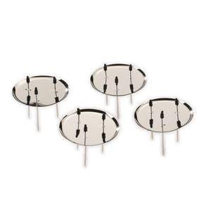 Kerzenhalter Adventskranz Metall 8cm, 4 Stück, Farbauswahl:silber
