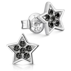 MATERIA Sternen Ohrstecker Mädchen Zirkonia schwarz 925 Silber - Stern Ohrringe rhodiniert SO-443-Schwarz