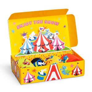 Happy Socks Kids Circus Geschenk Box 4 Paar Socken 4 Paar exklusive Socken in einer Geschenkbox, Jedes Paar zeigt einen Mix unterschiedlicher Farbtöne, Gestrickt aus gekämmter Baumwolle
