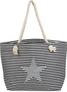 styleBREAKER Strandtasche XXL in Streifen Optik mit Stern Print und Reißverschluss, Shopper, Badetasche, Damen 02012165, Farbe:Blau-Weiß / Silber