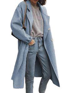 Damen Wollmantel Trenchcoat Damen warmen langen Mantel,Farbe: Blauer Haze,Größe:M