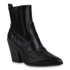 Mytrendshoe Damen Stiefeletten Cowboy Boots Chunky High Heels Western Schuhe 833897, Farbe: Schwarz, Größe: 38
