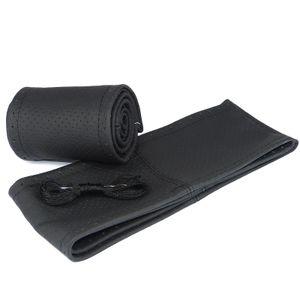 Lenkradbezug perforiert schwarz Lenkradhülle  aus echt Leder für Lenkraddurchmesser 36cm-37cm