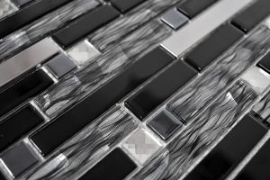 Handmuster Mosaikfliese Transluzent Edelstahl schwarz Verbund Glasmosaik Crystal Stahl schwarz Glas MOS67-GV478_m