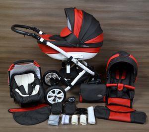LUXUS Kombi Kinderwagen ALU  3in1 Babyschale Autositz Babywanne Sportsitz(21,Lufträder weiss,weiss)