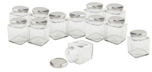 VBS Großhandelspackung Gläser mit Schraubdeckel eckig 12 Stück Vorratsglas Glas