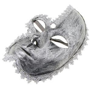 Vintage Venezianische Augenmaske Maskerade Maske Masquerade Kostüm Zubehör, Oper Stil Silber wie beschrieben