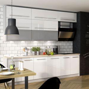 Küchenzeile Küche 240cm grau / weiß Hochglanz Neu