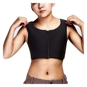 Solid Les Chest Binder Lesben Atemreißverschluss Oberteile Brust Unterhemd Wildfang BH Größe:XXXL,Farbe:Schwarz