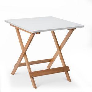 Beistelltisch Klapptisch Kaffeetisch Klappbar Klein Balkontisch Gartentisch Faltbar aus Bambus 50x50x50cm, Weiß