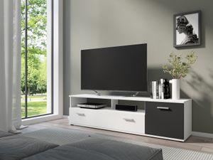 byLIVING TV-Board Jakob, 150x40x35,5 cm, Melamin weiß mit schwarz, mit viel Stauraum