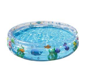 Planschbecken Deep Dive für Kinder, rund  ca. 152 cm, 3 Ringe, Sicherheitsventile, aus strapazierfähigem Vinyl, mit Reparaturflicken, Volumen ca. 282 l