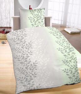 4-tlg Mikrofaser Bettwäsche Set Bettgarnitur Bettbezug 135x200 Kissenbezug 80x80 Modern Geblümt Blume Ranke NEU Creme Beige Mint Grün