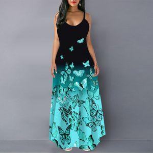 Damen Sling Beiläufige Schmetterling Gedrucktes Langes Kleid,3XL,Farbe: Blau