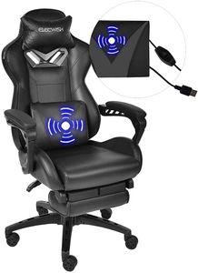 Massage Racing Gaming Stuhl Bürostuhl Computerstuhl  Ergonomisches Sportsitz höhenverstellbarer Stuhl mit Kopfstützen Schwarz)