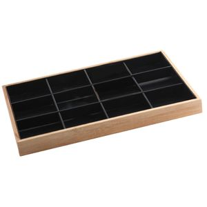 Bambus Schmucklade Schmuckvitrine, Ohringhalter Kettenhalter Farbe Schwarzes 12 Gitter