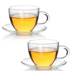 Teeglas Espressoglas mit Untertasse - Teetasse Espressotasse aus Glas - 2 Sets